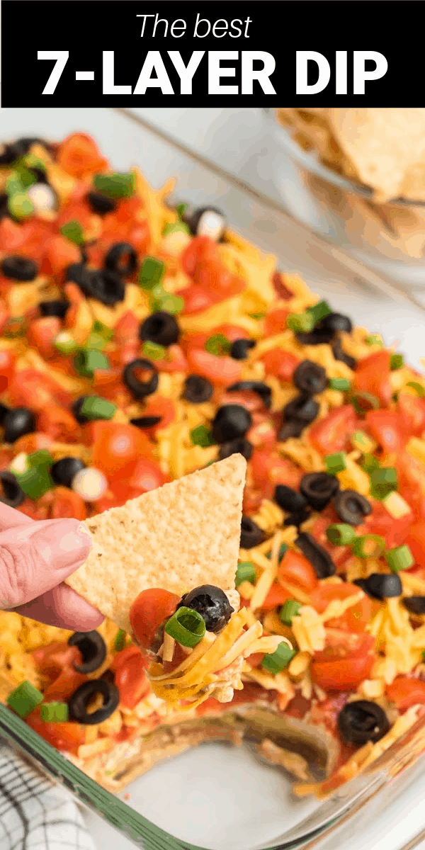 This 7-Layer Dip is perfect for parties, tailgates, or just a fun night of snacking at home. With seven layers of cheese, refried beans, black olives, green onions, and more, you're going to love the flavor and taste of each and every dip.