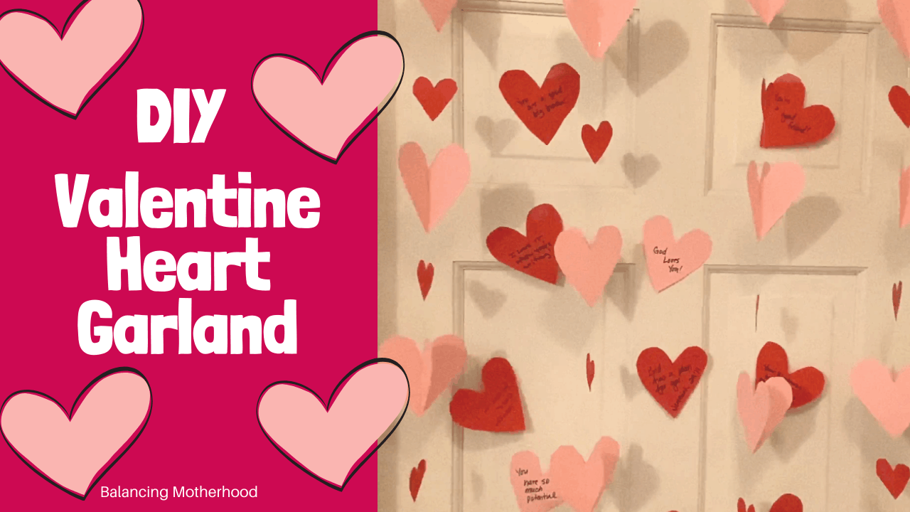 DIY Valentine heart garland on door