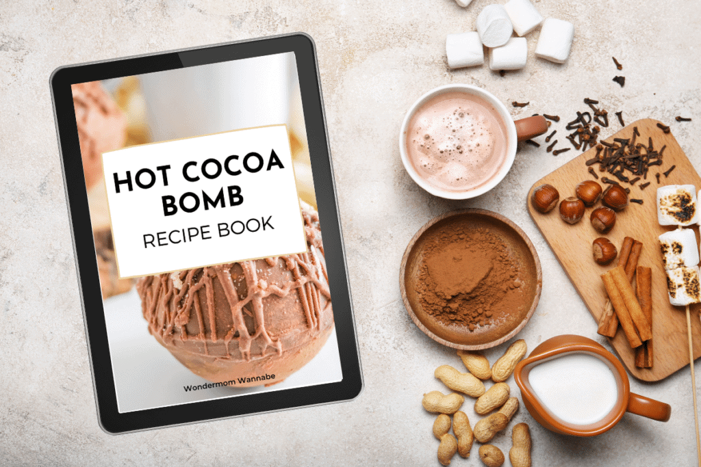 hot cocoa bomb digital book with ingredients