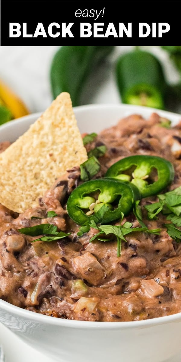 Our Black Bean Dip is a favorite family recipe made of mashed black beans, chopped fresh jalapeño peppers, onions, cheddar cheese,  salsa, and sour cream! You can be certain this isn't your ordinary bean dip.