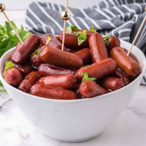 bowl of cooked smokies