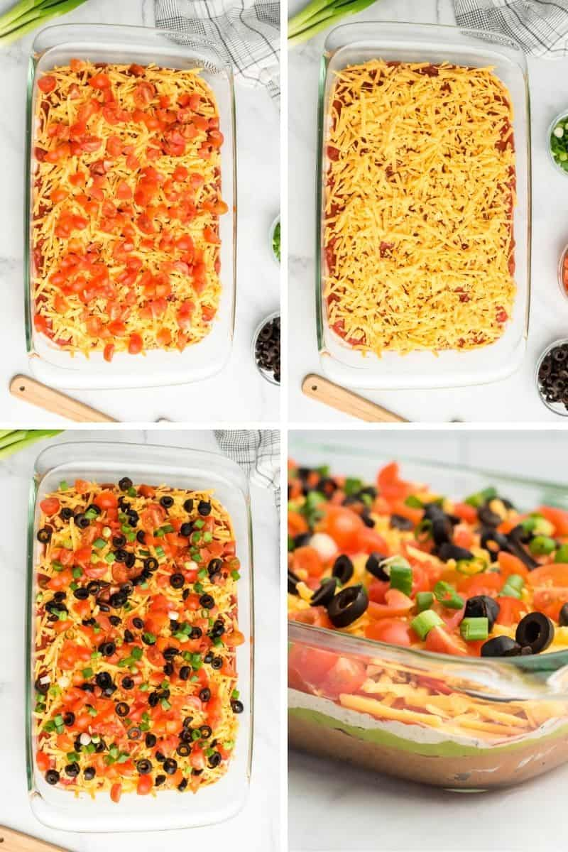 cheese and tomato layer, more cheese, layer with olives and scalions