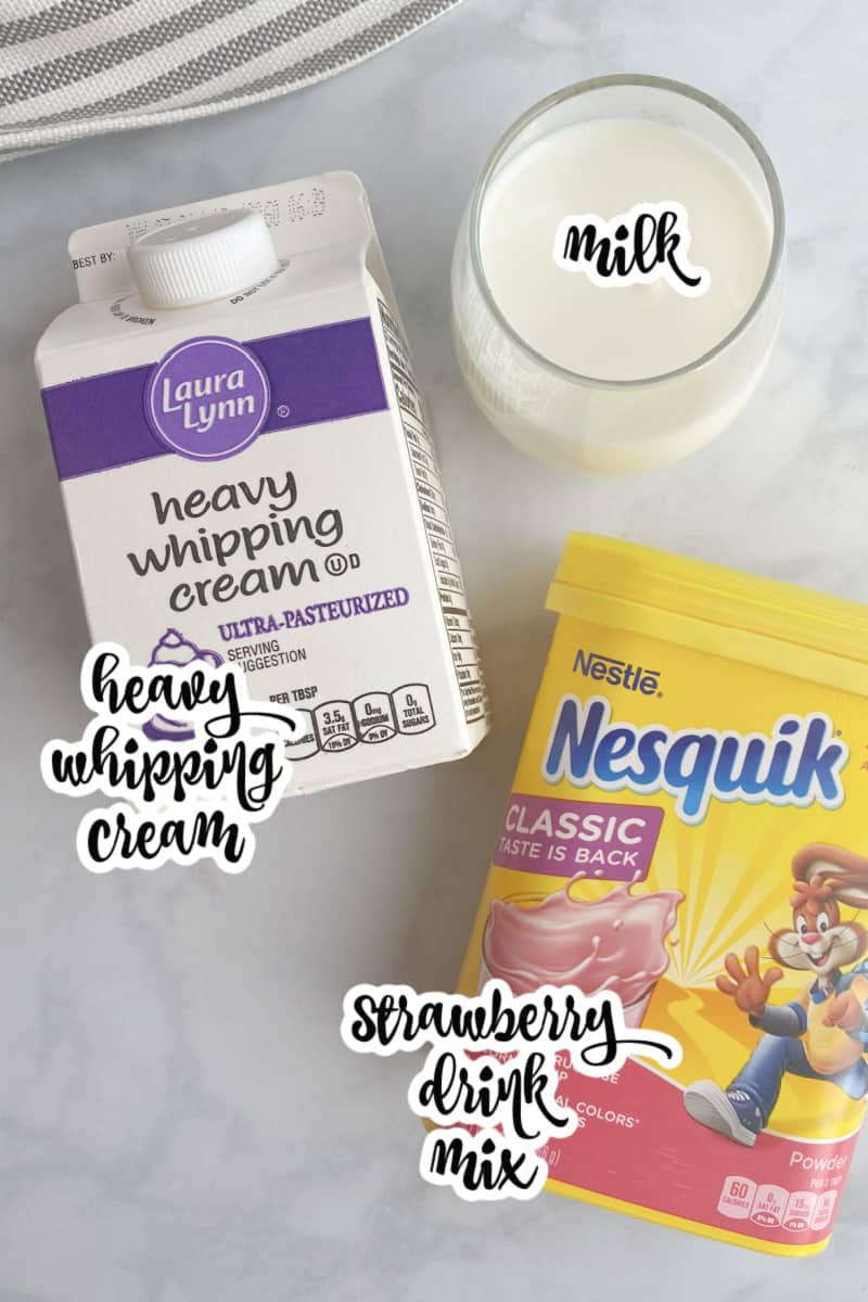 whipped strawberry milk ingredients: heavy whipping cream, milk, strawberry drink mix