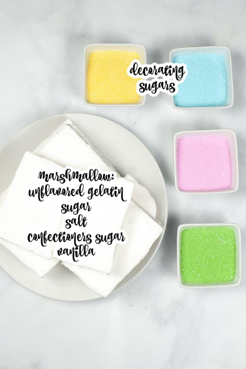 peep ingredients: homemade marshmallow blocks, yellow, blue, pink, and green decorating sugars