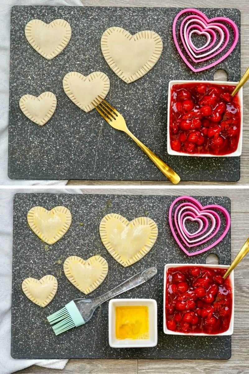 crimp edges of hearts, then put egg wash on top
