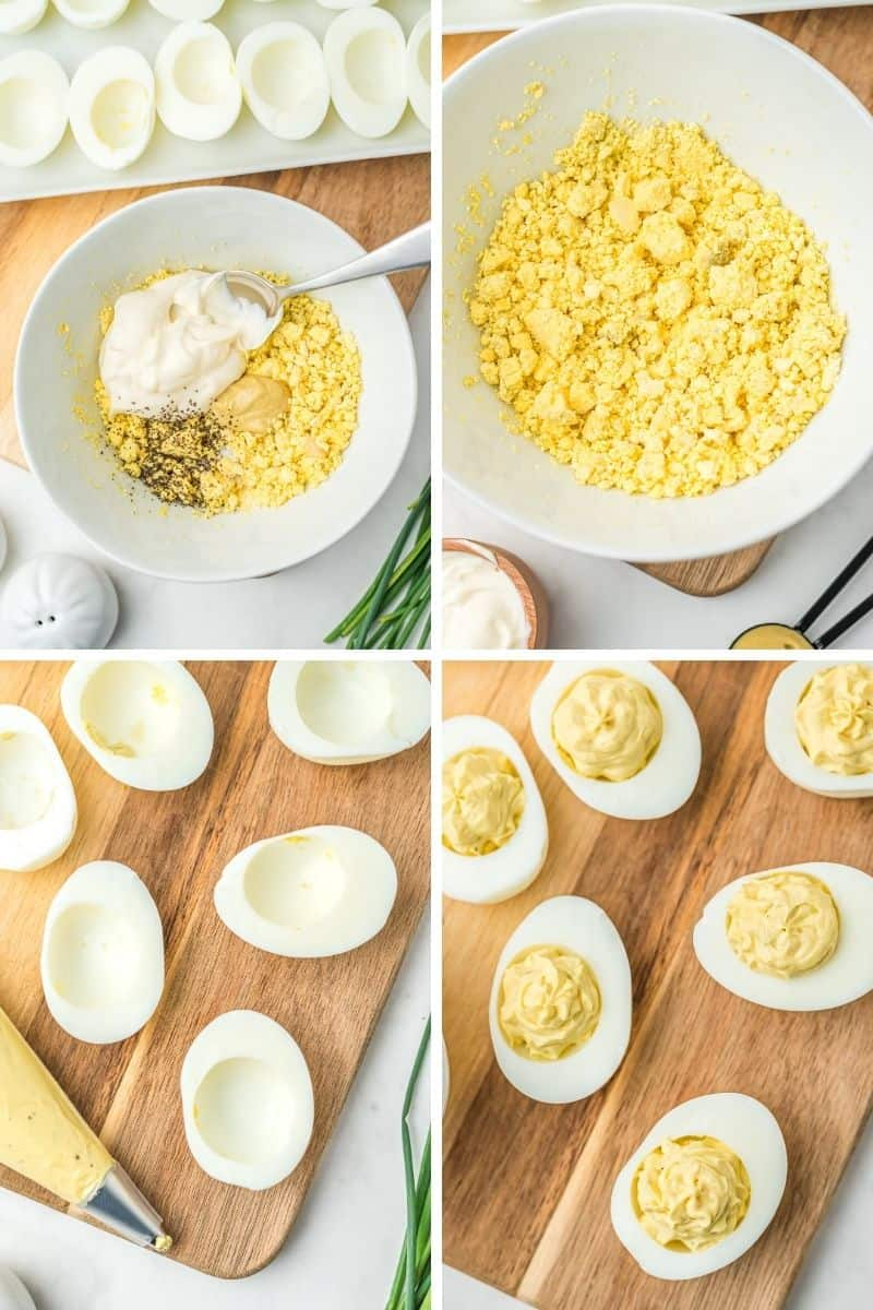 bowl with yolks, mayonnaise, mustard, and salt and pepper. Mix together. Pipe mixture into empty egg whites.