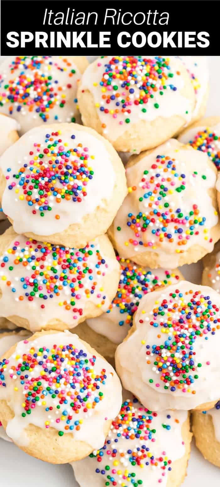 Italian ricotta cookies are a delicious, soft and fluffy butter cookie with a vanilla glaze and colorful sprinkles. They are a perfect holiday cookie.