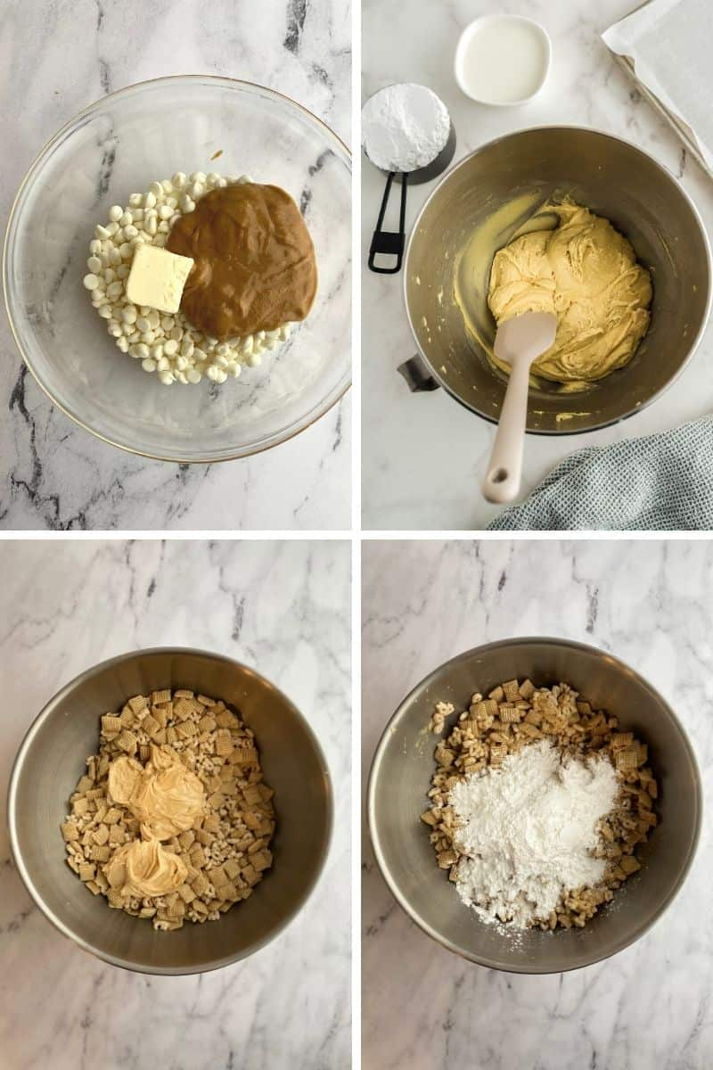four bowls: chocolate, butter, peanut butter; melted; add in cereals; add in powdered sugar