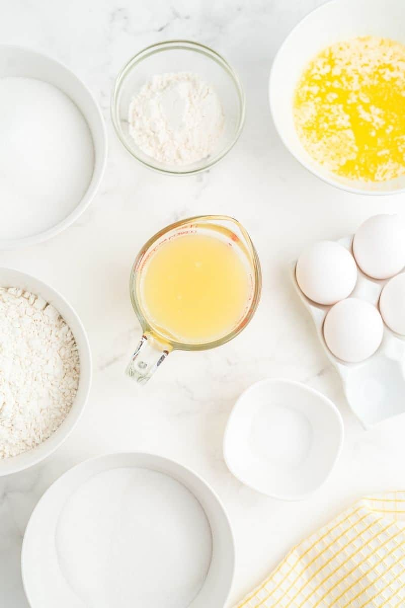 sugar, flour, melted butter, eggs, lemon juice, confectioners sugar