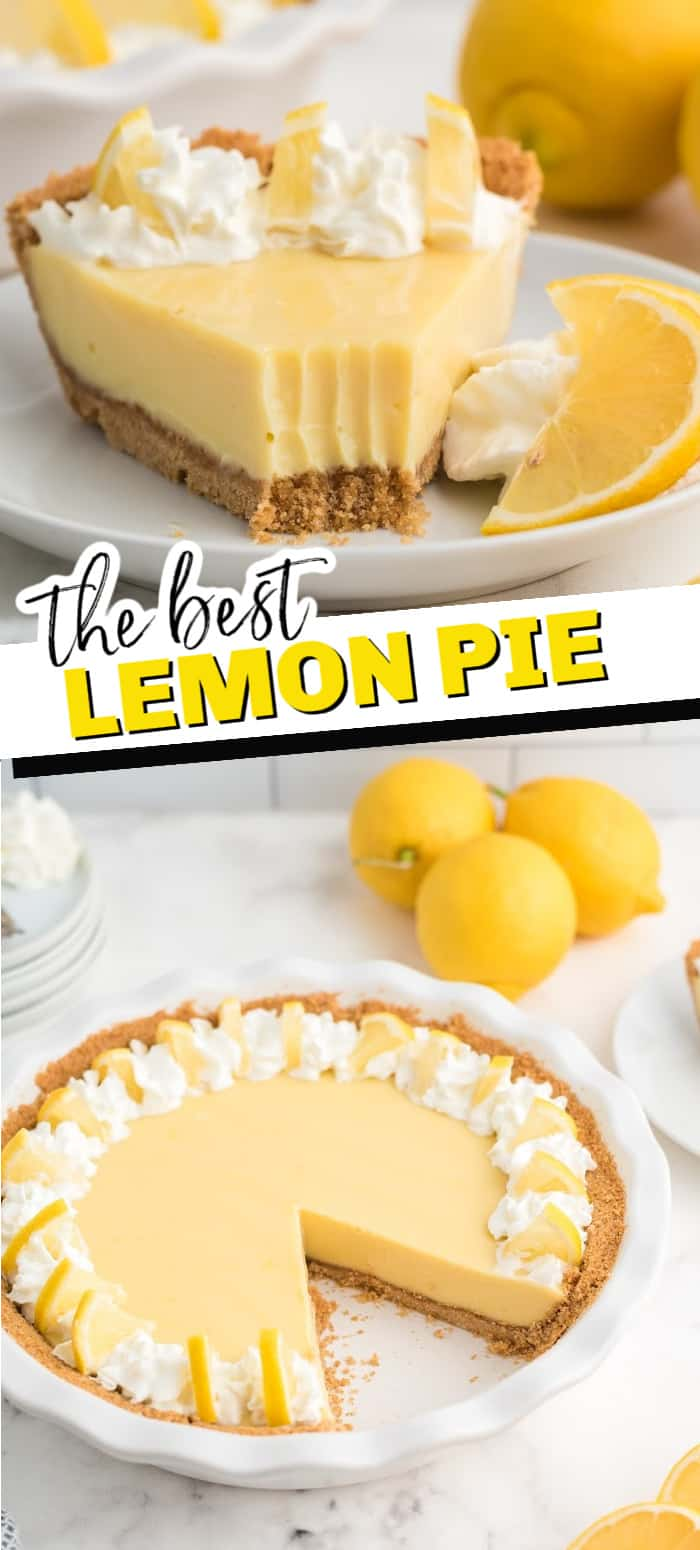 Creamy Lemon Pie is like key lime pie, but not as tart. The amazing lemon filling has just 3 simple ingredients. Put that in a simple graham cracker crust and top with whipped cream and lemon slices for a refreshing pie any time of year!