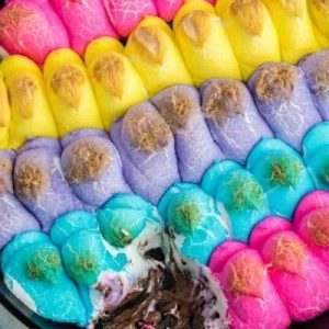 colored peeps browned in cast iron skillet