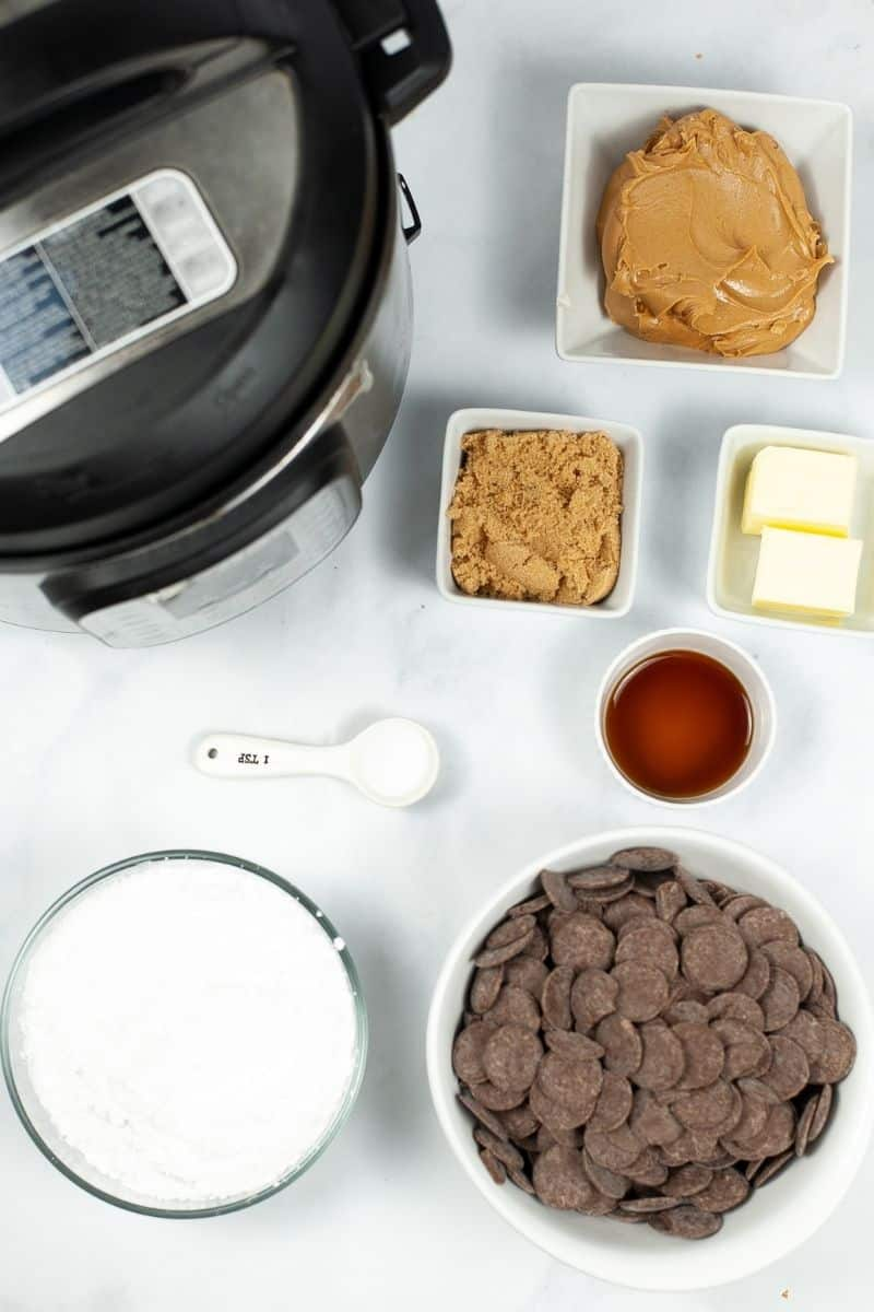 Instant pot with peanut butter, brown sugar, butter, maple syrup and chocolate